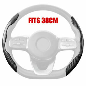 "Carbon Fiber Look Universal Car Steering Wheel Cover Non-Slip Accessory 38cm 15"""