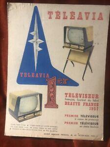 carton publicitaire ancien Télé Teleavia 1957 25x34cm
