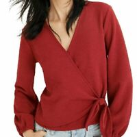 Madewell Texture & Thread Crepe Wrap Top Deep Crimson Red Surplice Stretch XS