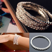 Women's Bridal Silver Plated Crystal Charm Wristband Bracelet Friendship Bangle
