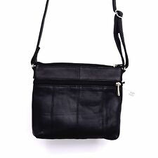 Women's Genuine Leather Cross Body Bags Multiple Zipper Compartment Black Purse