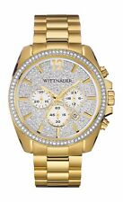 Wittnauer Men's WN3051 Quartz Chronograph Crystal Accents Pave Dial 44mm Watch