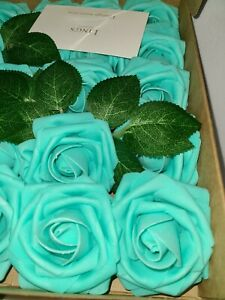 New! Ling's Moments. Roses artificial flowers 25 pcs. Teal Turquoise.