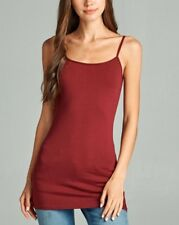 LONG LAYERING TUNIC COTTON SPANDEX CAMI CAMISOLE TANK TOP REG PLUS 52 COLOR S-3X