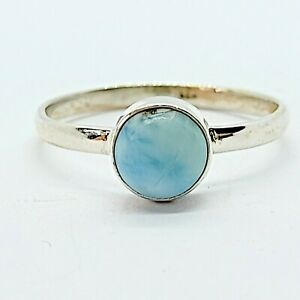 Brand New Sterling Silver 925 Blue Larimar (Round) Ring, Size N 1/2
