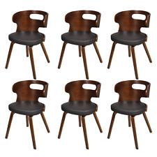 Chaises de salle à manger en cuir et bois robuste brun ergonomique confortable