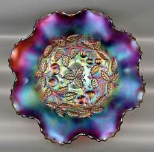 CARNIVAL GLASS - ANTIQUE NORTHWOOD THREE FRUITS MEDALLION Amethyst Bowl 3772