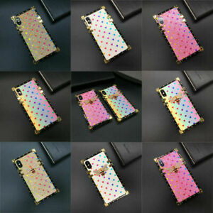 Square Glitter Love Bee Phone Case For iPhone 12 11 13 Pro Max XR XS 7 8 SE 2020