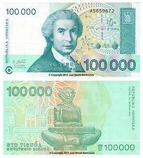 Croazia 100000 Dinara (100,000) 1993 P-27 BANCONOTE UNC