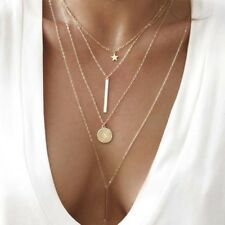 Gold Plated 4 Layered Star Necklace Chain Disc Bar Pendant Fashion