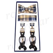 New in box Men's Suspender Braces Bowtie Hankie Set Elastic Strap plaid Brown