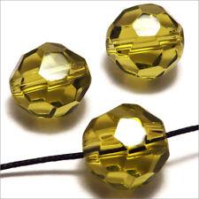 Lot de 10 perles à FACETTES 12mm en Cristal de Bohème Vert Jaune
