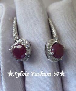 🌟 Belles boucles d'oreilles Argent 925 pendantes Rubis et brillants zc.