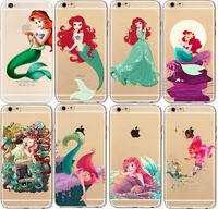 Cute Cartoon Ariel little Mermaid TPU Case Cover For iPhone 4S 5S SE 5C 6S 7Plus