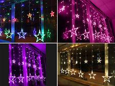 Sternen Lichterkette Weihnachtsbeleuchtung Vorhang Lichtervorhang Deko 168 LED