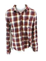 HOLLISTER Womens Shirt S Small Brown White Pink Blue Yellow Check Cotton