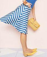 NEW $109 TALBOTS Blue,Ivory Chevron Stripe Full Skirt Sz 16P,16 Petite
