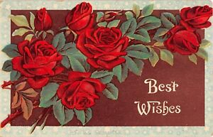 Beautiful Red Roses on 1910 Best Wishes Postcard - Series 40