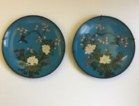 Antique Japanese Cloisonne Plates Pair Sky Blue Decorated With Birds And Flowers
