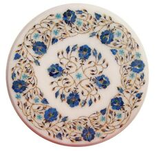 """18"""" Marble Side Table Top  Pietra dura Lapis Floral Inlay Work"""