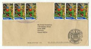 Tonga 2002 Series Provisional Surcharge cover. Blue Crowned Lorikeet 10c on 55s