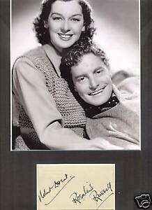 ROBERT DONAT & ROSALIND RUSSELL RARE AUTHENTIC SIGNED AUTOGRAPH DISPLAY UACC