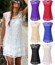 Ladies Summer Lace Mini Dress Casual Sleeveless Evening Party Beach Sundress