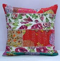 Indien Patchwork Floral Kantha Coussin Housse Coton Oreiller / Étui Décor Boho
