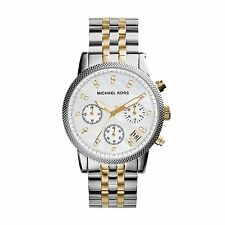 Michael Kors Uhr MK5057 RITZ Damen Chronograph Edelstahl Silber Gold Armbanduhr