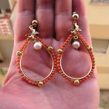 Silver Gold Natural Coral & Pearl Chandelier Dangle Earrings