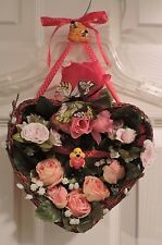 "Silk Flower Hanging Heart Basket with ""Bee Mine"" Pin, Handmade, NEW!"
