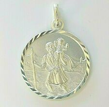 BRAND NEW Genuine Solid 925 Sterling Silver Large St Christopher Mens Pendant