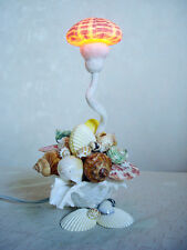 Table Lamp Night Light Sea Shells Light Shell handcraft blow fish Decor Vintage