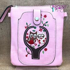 Baby Pink Owl Small Bag with Mobile Phone Holder Long Cross Body Strap
