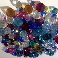 Vintage One (1) Oz Exquisite Small Machine Cut Glass Jewel Assortment - Sweet!