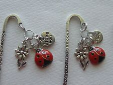 LOT OF 3 LADYBUG LOVE LUCK LOVE YOU FLOWERS TIBETAN ANTIQUE SILVER BOOKMARKS