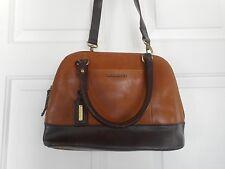 Tignanello Glazed Vintage Leather RFID Zip-Around Dome Satchel Walnut Brown New