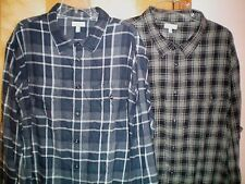NWT NEW mens navy blue gray black SONOMA flannel shirt $48 retail