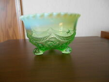 Jefferson Opalescent Green Footed Dish Bowl, Ruffles & Rings Pattern
