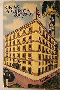 Cuba Havana Hotel Gran America Greetings Postcard Old Vintage Card View Standard