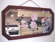 VINTAGE STYLISH  MIRROR HAND PAINTED BEVELLED EDGE FLOWERS ARTIST SIGNED D.M.G