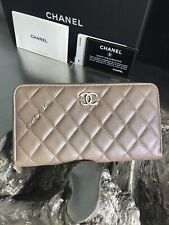 06553c7c355dbb CHANEL 19S Iridescent Beige Caviar Large Zip Wallet CC Pearly 17B ROSE GOLD  NEW