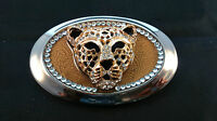 HAND CRAFTED MULTI ORNAMENTED BELT BUCKLE BIG CAT DESIGN