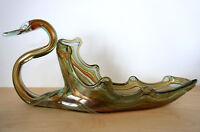 "Large Vintage Multi-Colored West Virginia Glass Swan Dish Vase Bowl 16"" Long"