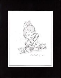 2 LOT The FLINTSTONES Pebbles Bamm Bamm Pencil Drawings Signed by Bob Singer d