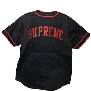SUPREME Baseball Jersey F/W 13 S Patch Size M Black And Red NEW