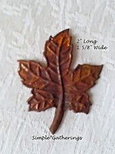 "MAPLE LEAF Cutouts Rusty LEAVES 12 pcs 2"" L 1 5/8"" W Tin Primitive Nature Fall"