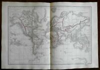 World Pacific Voyages of Captain Cook Explorations 1872 Belin historical map