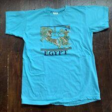 Vintage Camel Cigarettes Egypt Pharaoh Pyramids Graphic T Shirt Sz XS/S Teal