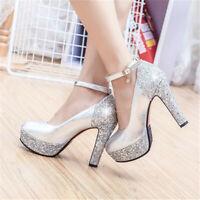 Womens Ankle Strap Glitter High Heel Platform Party Pumps Shoes UK Size 1--8
